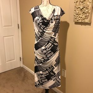 Dressbarn Cowl Neck Printed Dress Size 14